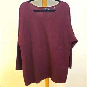 Maroon horizontal ribbed dolman sleeve sweater